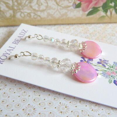 Pink Mother of Pearl MOP Clear Crystal Silver Drop Dangle Long Earrings