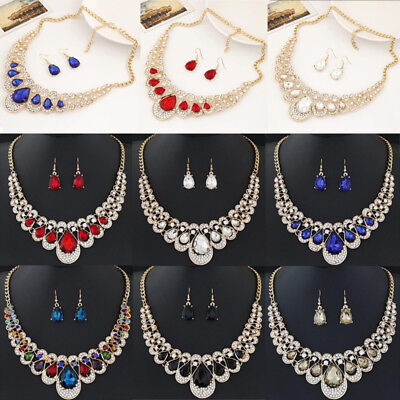 Gorgeous Crystal Lady Choker Pendant Fashion Statement Necklace Earrings - Beautiful Gorgeous Crystal Necklace Earring