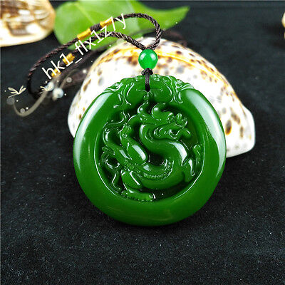 Chinese Green Jade Dragon Necklace Pendant Fashion Charm Jewelry Lucky Amulet Dragon Green Jade Necklace