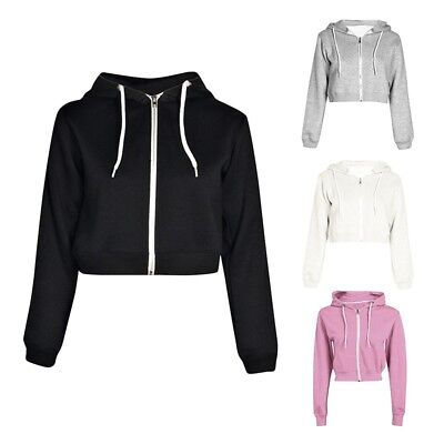 Women Crop Hoodie Jumper Sweatshirt Sweater Casual Zipper To