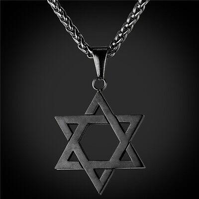 Star of David Pendant Necklace Chain christian Israel Jewish Black Gun Pow
