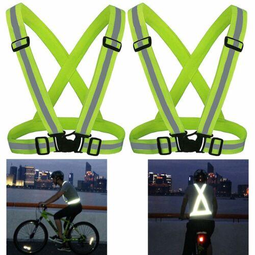 2tlg Reflektor Warnweste Sicherheitsweste Unfallweste Motorrad Sport Dunkel Neon