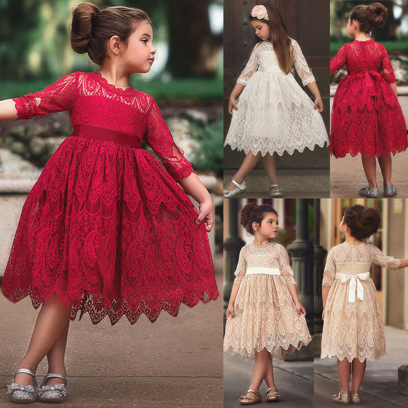 Girls Party Dress Bowknot Lace Dress Long Sleeve Princess Kids Dresses Holiday