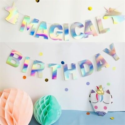 Unicorn Banner Party Supplies Paper Garland Themed Happy Birthday - Themed Birthday Decorations