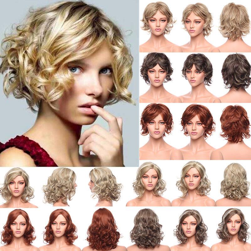 Sexy Women's Short Pixie Hair Bob Full Wigs Brown Wavy Curly