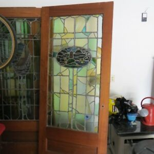 Rare Antique Arts Crafts Stained Glass door