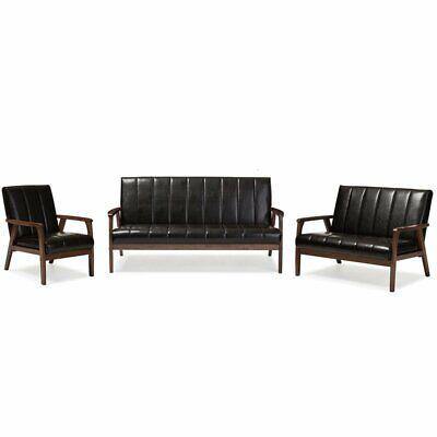 nikko 3 piece faux leather sofa set