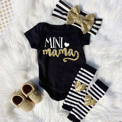 US Newborn Infant Baby Girls Outfit Clothes Romper Jumpsuit Bodysuit+Pants Set