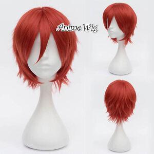 For Akatsuki Sasori Red Heat Resistant Short Hair 30CM Anime Cosplay Wig