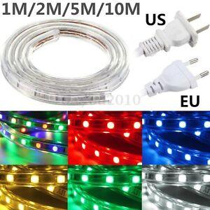 5050-SMD-RGB-60-LED-m-1-2-5-10m-Strip-Guirlande-Ruban-Etanche-IP67-Silicone-220V