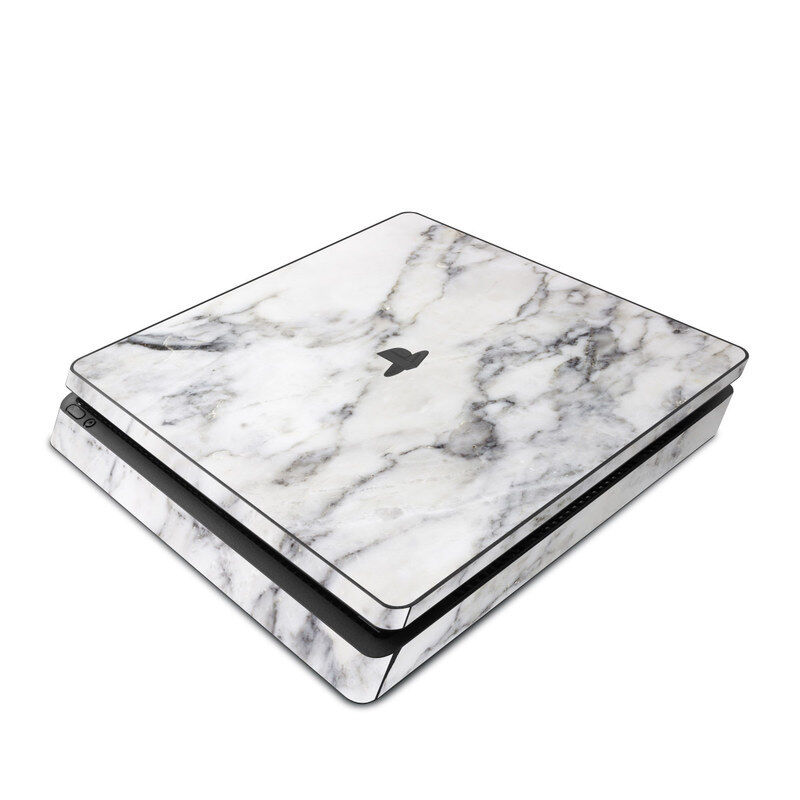 Sony PS4 Slim Console Skin Kit - White Marble - Sticker Decal