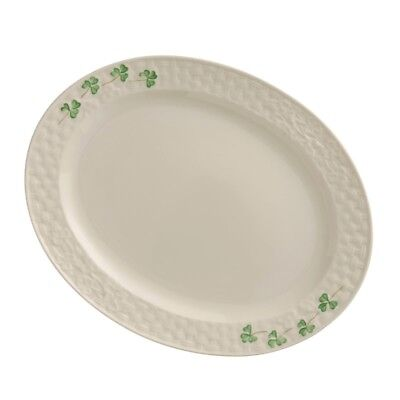 Small Oval Platter Belleek Classic Irish Hand Painted Shamrock Design Porcelain