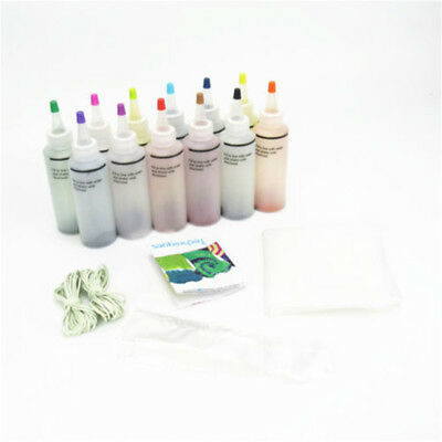 12 Color Fabric Tye Permanent Dye Craft One Step Tie Kit Arts Design Fashion Set
