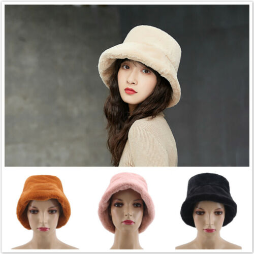 Faux Fur Winter Bucket Hat For Women Girl Solid Thickened Warm Fishing Cap