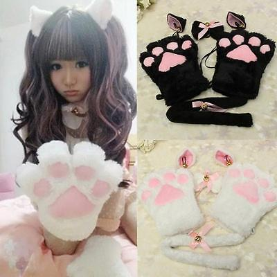 Cat Claws Costume (Girl Cat Fox Ears Tail Paws Collar Cosplay Neko Costume Plush Claws Gloves)