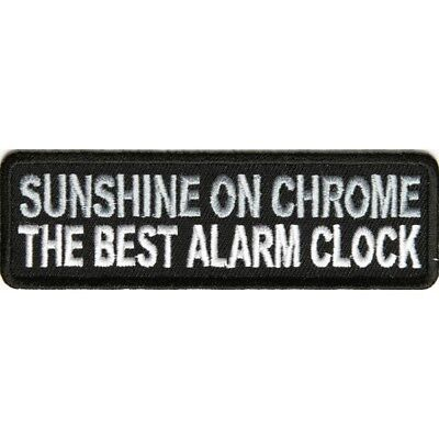 SUNSHINE ON CHROME THE BEST ALARM CLOCK - IRON or SEW-ON