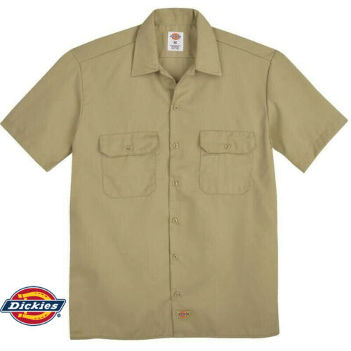 Dickies Boys Twill Short Sleeve Shirt Desert Sand Khaki Boy Scouts Sizes 4--20