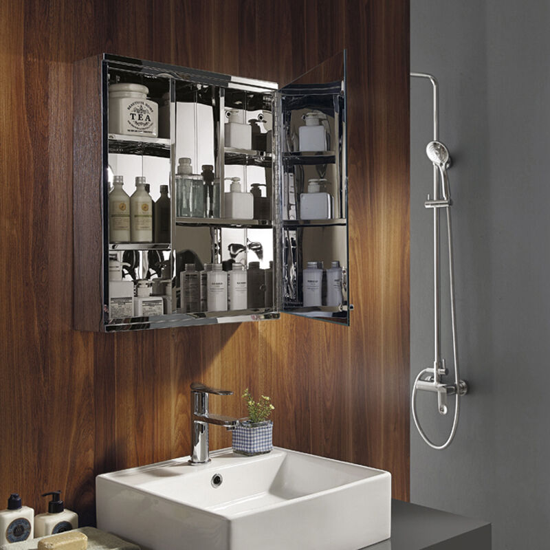 luxury stainless steel wall mount mirror storage cupboard bathroom cabinet ebay. Black Bedroom Furniture Sets. Home Design Ideas