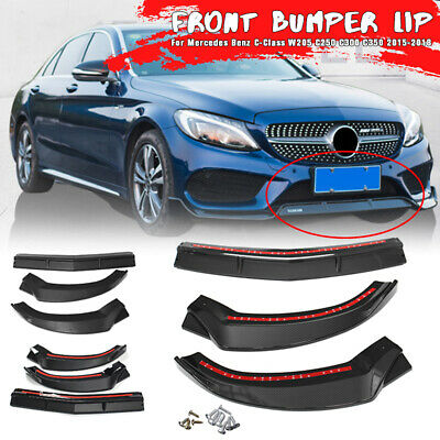 Carbon Style Front Bumper Lip Spoiler Body Kit For Mercedes C-Class W205 15-18
