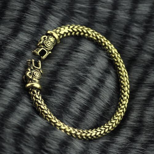 Viking Bronze Fenrir Wolves Norse Armband Steel Bracelet Ragnar Lothbrok REPLICA