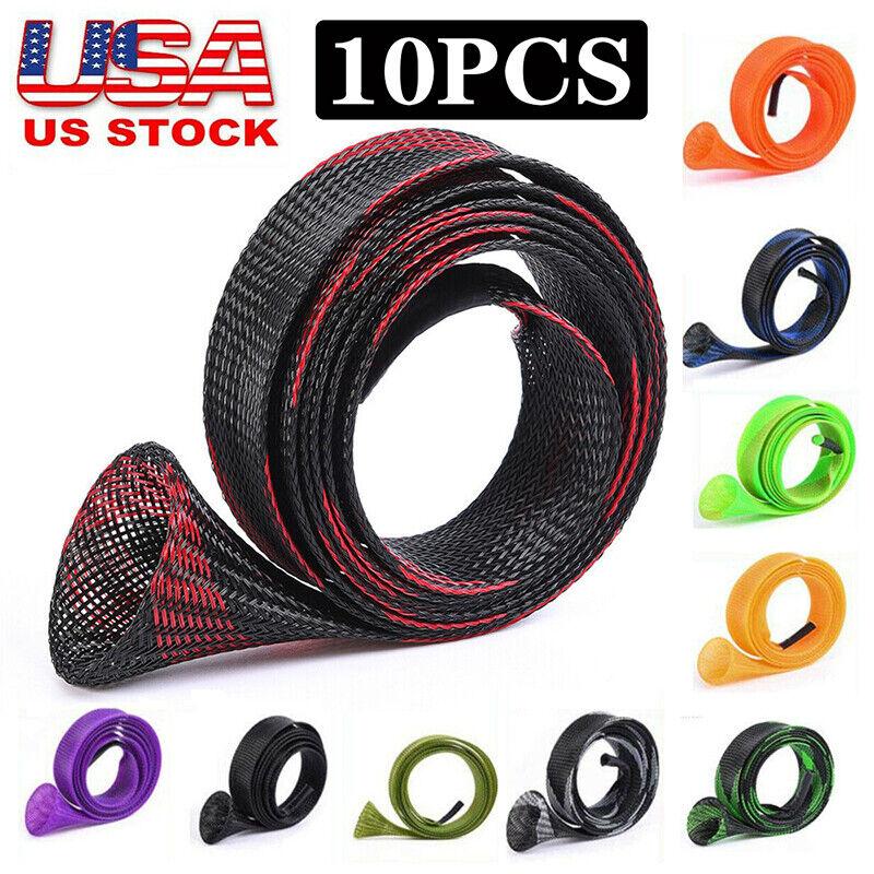 10Pcs/Set Rod Sock Fishing Sleeve Cover Braided Mesh Protector Pole Gloves US