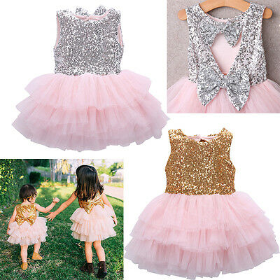 Holiday Dresses For Baby Girl (Princess Kids Baby Girl Sequins Dress Bowknot Party Dresses Bridesmaid Dress)