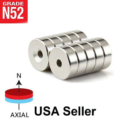 Lot 10 25 50 15mm X 4mm Hole 4mm Ring Disc Rare Earth Neodymium Craft Magnet N52