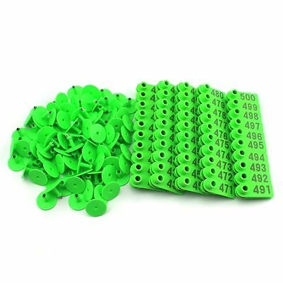 401-500 Green Number Plastic Livestock Ear Tags Animal Tag For Goat Sheep Pigs