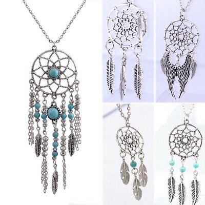 Fashion Retro Dream Catcher Feather Charm Chain Choker Pendant Necklace -