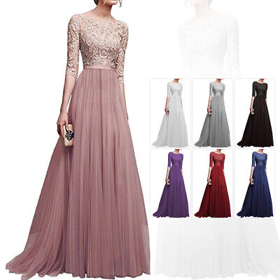 US Women Formal Lace Maxi Dresses Prom Gown Bridesmaid Toast Wedding Long Dress