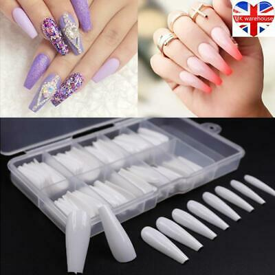 100pcs/box Long Ballerina False Nail Art Tip White/Clear/Natural Coffin Acrylic