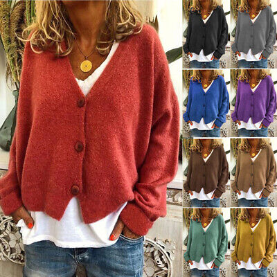 Womens Long Sleeve Button Down Cardigan Casual Knitwear Sweater Coat Jacket US