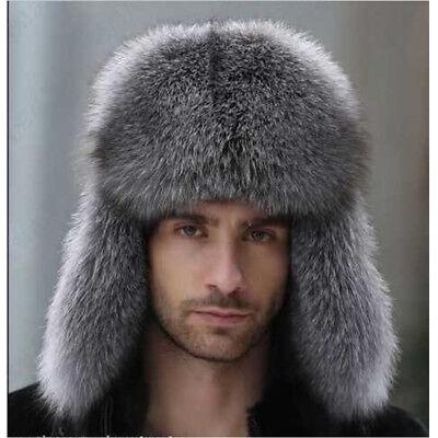 Mens Ushanka Winter  Raccoon Fur Lamb Leather Russian Cossack Trapper Hats