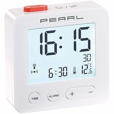 Funkwecker: Digitaler Reise-Funk-Wecker mit Thermometer und beleuchtetem Display