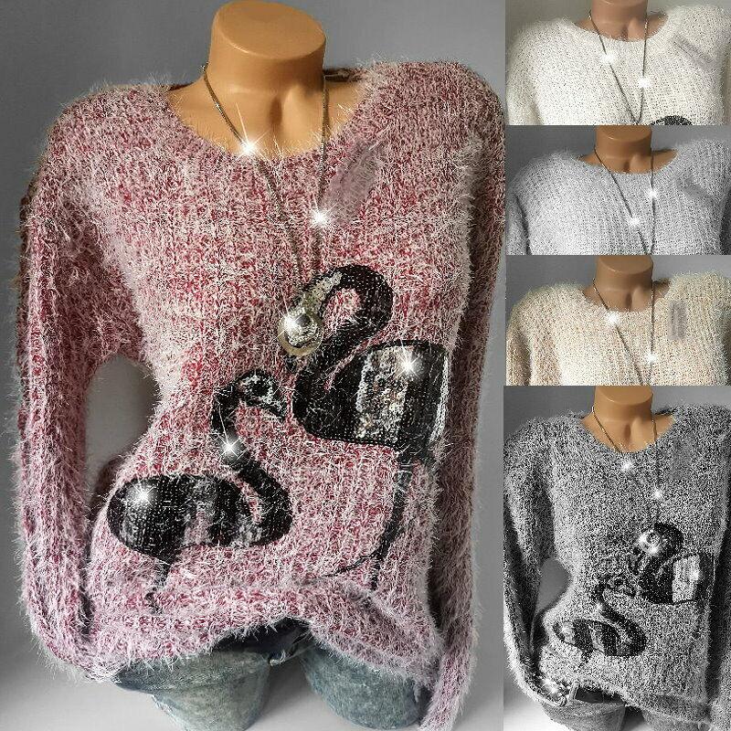 Damen Glitzer Pailletten Flamingo Pullover Flausch Kuschel Pulli*M L XL-38 40 42
