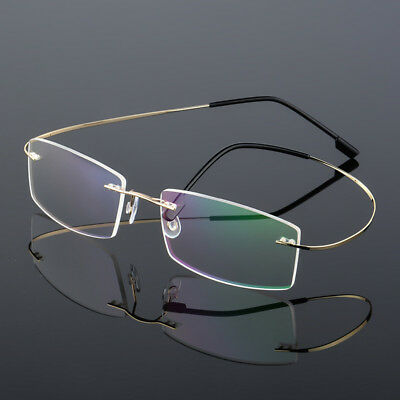 (Flexible Rimless Ultra-light Titanium Alloy Eyeglass Frames Eyewear Women Men RX)