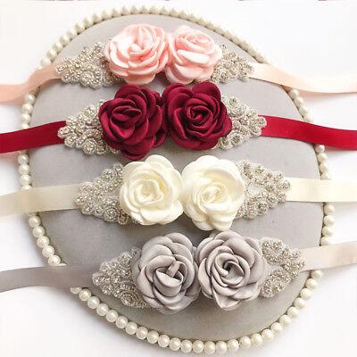 Rose Waistband - Women Double Rose Flower Buckle Waistband Elastic Waist Belt Ladies Fashion