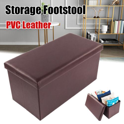 "30"" Folding PU Leather Ottoman Bench Pouffe Storage Box Loun"