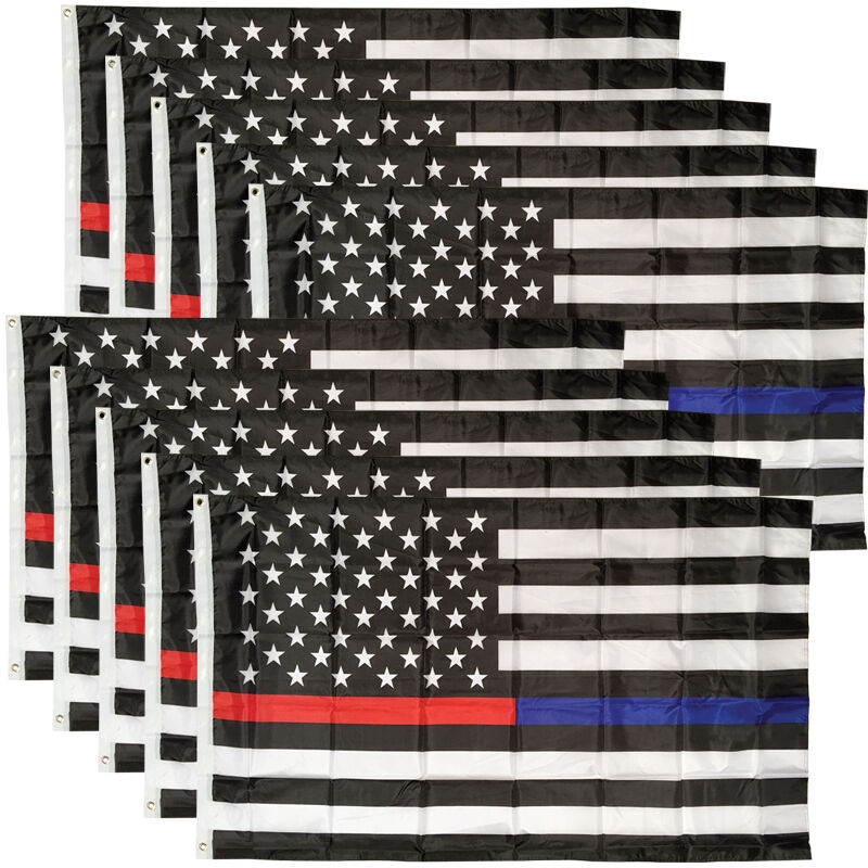 10 PACK - 3x5 Ft Thin RED & BLUE Line USA  Flag - Polyester b