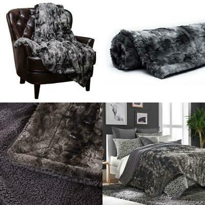 Faux Fur Bed Blanket Soft Cozy Warm Fluffy Variation Print Fleece Throw Xmas