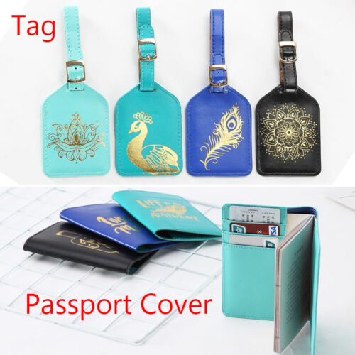 Fashion Hot Stamping Passport Cover & Luggage Tag Leather Tr