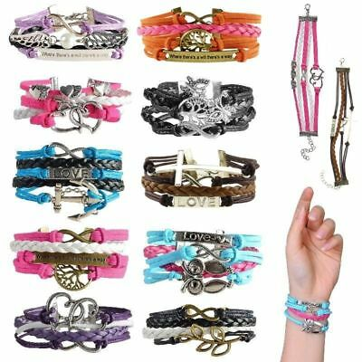 Jewellery - Fashion Leather Cute Infinity Charm Bracelet Jewelry Silver lots Style US Seller