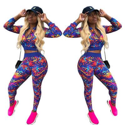 Women Sports 2Piece Zipper Short Coat Casual Print Bodycon Jumpsuit Set Playsuit