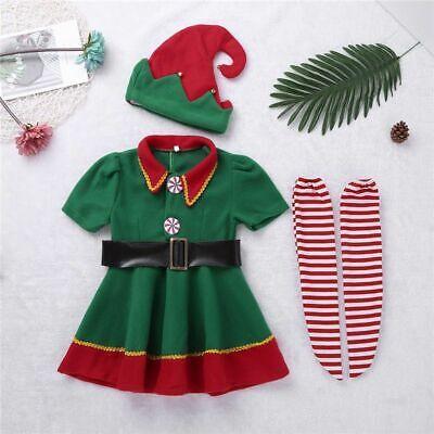 Elf Costume For Child (Costume Dress For Girls Christmas Elf Design Kids Cosplay Clothing Hat Belt)