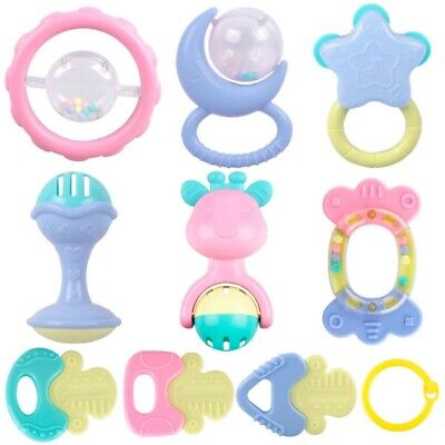 10Pcs Baby Toddler Rattles Teethers Set Grab Spin Shaking Bell Rattle Gift Toy