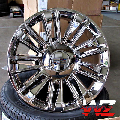 "22"" Platinum Style Full Chrome Wheels Fit Cadillac Escalade EXT Chevy 22x9 Set 4"