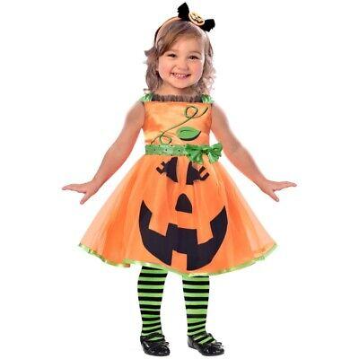 Kürbis Mädchen Kostüm Gr. 98, 104 Kleid + Haarreif Halloween - Kürbis Mädchen Kleinkind Kostüm