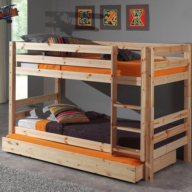 Etagenbett Hochbett mit Bettschublade massiv Doppelbett Kinderbett Jugendbett