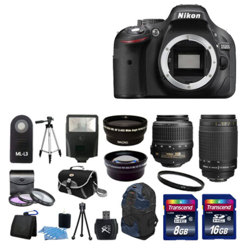 NEW Nikon D5200 Digital SLR Camera w 4 Lens Complete DSLR Kit 24GB TOP VALUE!