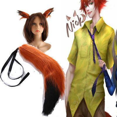 Hot High-quality Movie Fox Nick Wilde Cosplay Ears and Tail  Cos Accessories